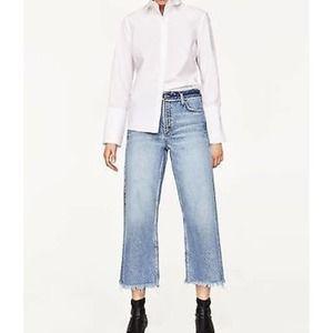 Zara Basic 1975 Denim distressed wide leg Jeans 6